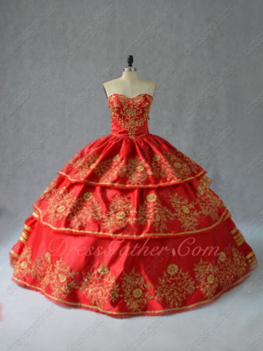 Vintage Western Gold Embroidery Layers Red Quinceanera Ball Gown Queen Princess