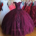 Vivacious Sweetheart Off Shoulder Burgundy Tulle Quinceanera Ball Gown Applique Detail