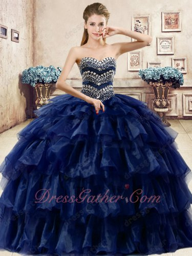 Navy Organza and Tulle Mixed Layers Cake Ball Gown For Quinceaneara Ceremony Party
