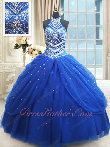 Halter Top Neck Silver Embroidery Royal Blue Vestidos De Ball Gown Free Shipping