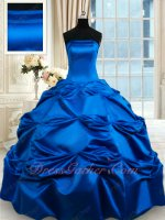 Classical Royal Blue Thick Satin Plain Village Quinceanera Ball Gown September