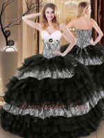 Zebra Fabric and Black Organza Successive Birthday Cake Layers Quinceanera Ball Gown
