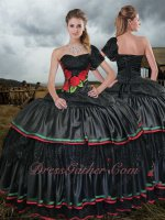 Single Short Lace Sleeve Black Gothic Quinceanera Ball Gown With Embroidery