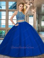 Sexy Two Parts Show Waist Royal Blue Lady Quinceanera Prom Ball Gown Puffy Popular