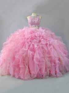 Two Pieces Scoop Blouse Sparkling Tulle and Organza Ruffles Quinceanera Ball Gown Pink