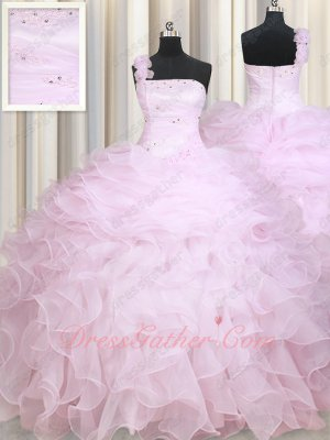 One Shoulder Folds Corset Half Layers and Ruffles Quinceanera Gown Baby Pink Elegant
