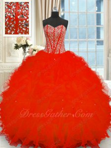 Full Fishbones Bodice V-Shaped Waist Pretty Red Dress Silver Beading Ruffles Ball Gowns