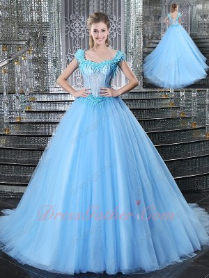 Baby Blue See Through Sheer Bodice Sexy Summer Quinceanera Ball Gown Cathedral Train