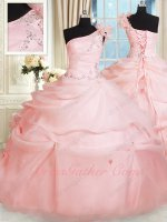 One Shoulder Falbala Strap Blush Quinceanera Ball Gown Silver Sparkles Embroidery