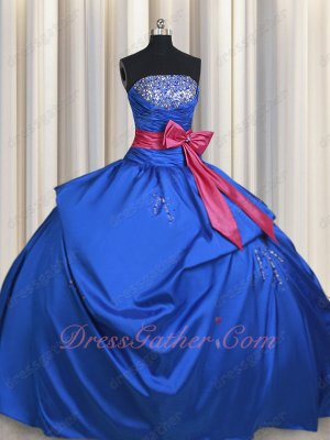 Girls to Women Ceremony Taffeta Quinceanera Court Gown Royal Blue With Fuchsia Bowknot
