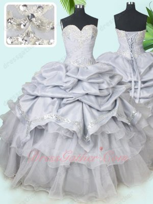 Professional Sweetheart Silver Taffeta Bubble and Organza Layers Quinceanera Gowns 2019