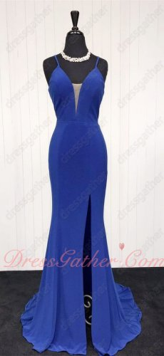 Spaghetti Straps Sexy Split Spandex Mermaid Banquet Dress In Royal Blue