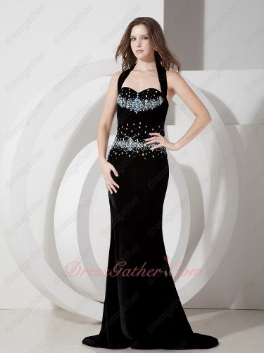 Black Velvet/Velour Mermaid Package Hips Pageant Formal Evening Dress Low Price