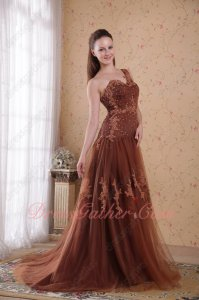 Dropped Waist Seam Brown Tulle Mermaid Celebrity Evening Dress Designer Lists