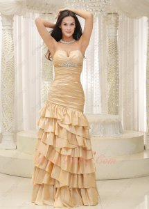 Flattering Champagne Taffeta Wrinkle and Layers Dropped Waist Formal Prom Dress Cheap
