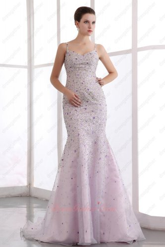 Luxurious Spaghetti Straps Palest Lilac Organza Trumpet Evening Gowns Full Beadwork