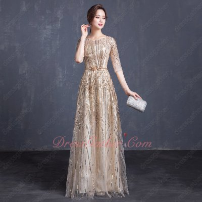 Design Your Own Twinkling Stripe Half Sleeve A-line Evening Dress In Champagne