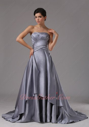 Dark Silvery Grey Satin Court Train Military Prom Dresses Corset Back