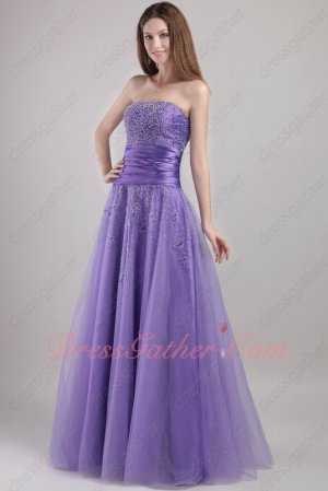 Blue Violet Purple A-line Evening Performance Dress With Shiny Beading