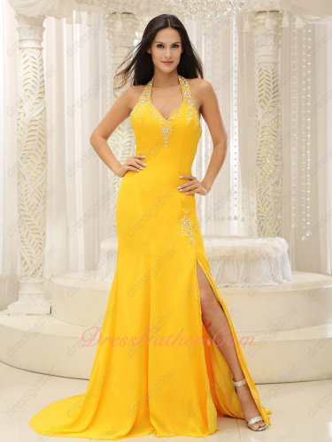 Deep Bright Yellow Waist Panel Train Left Opening Slit Evening Dreses Halter Backless