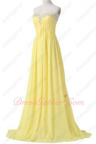 Special Price Beaded Sweetheart Neckline Long Daffodil Chiffon Evening Dress