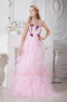 Paillette Applique Shaped Waist Basque Cascade Fall Mesh Fluffy Prom Gowns Affordable