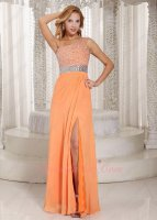 Captivating One Strap Bright Orange Waltz Dancing Gathering Dress Silver Beading