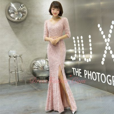 Half Sleeves Sheath Slit Skirt Sparkle Sequin With Tomenta Blush Prom Dress Custom Made