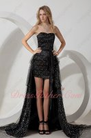 Black Sparkle Sequin Tulle Cocktail Prom Night Gowns DIY Detachable Train