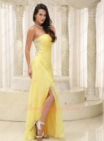 Brand Clearance Graceful Daffodil Yellow Chiffon Pageant Dresses Side Slit