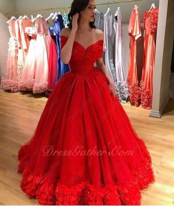 Portrait Shoulder Basque Waist Ball Gown With Handmade 3D Flowers Hemline