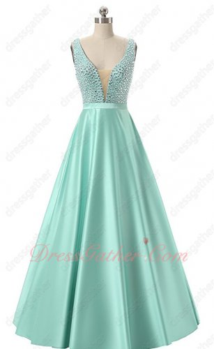 Glass Crystals V Neck Mint A-line Satin Sunny Day Outdoor Party Dress