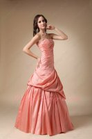 Sales Salmon Watermelon Taffeta Dropped Waist Club Prom Ball Gown Little Puffy