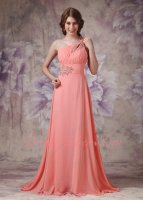 Beading Watermelon Chiffon Fashion Color Of 2019 Formal Gowns One Shoulder Long Skirt
