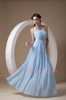 Strapless Baby Blue Soft Chiffon Very Formal Dresses Empire Waist Discount
