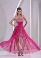 Hot Pink Cocktail Prom Dress Short Sequin Skirt With Waist Cloak Flowing Train