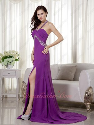 Sexy Halter High Waist Sweep Train Mauve Chiffon Evening Prom Gowns 2020
