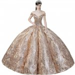 Dazzling Sequin Giltter Off Shoulder Cap Sleeved Deep V Illusion Cutout Bodice Box Pleated Skirt Champagne Quinceanera Dress