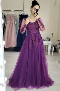V Neck Applique Mesh Sheer Long Sleeves Purple Lace Prom Dress With Belt