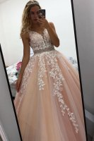 Crystal In Rows Belt Prom Gown Nude Tulle Accented With Off White Leaves Lace