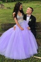 Elegant Fully Beaded Sheer Bodice A-Line Laveder Prom Evening Dress Light Purple