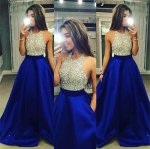 Stunning Beaded Hater Top A-line Voluminous Skirt Nude and Royal Blue Formal Prom Dress With Pockets