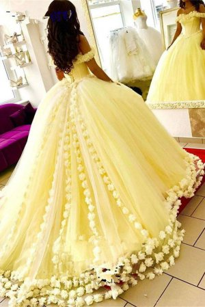 3D Handmade Flowers Adorned Off Shoulder Basque Puffy Yellow Ball Gown For Quinceanera Sweet 16