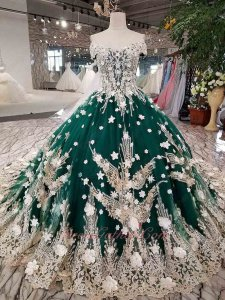 Off Shoulder Hunter Green Tulle Champagne Lacework 3D Flowers Cathedral Train Wedding