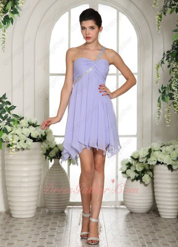 One Shoulder Lavender Chiffon Bridal Ladybro Group Bridesmaid Dress Gowns Fresh