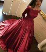 Princess Off Shoulder Long Sleeves Dark Red Designer Quinceanera Dress Sweet 16 Ball Gown With Court Train