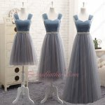 Steel Gray With Blush Different Skirt Length Series For Bridesmaids