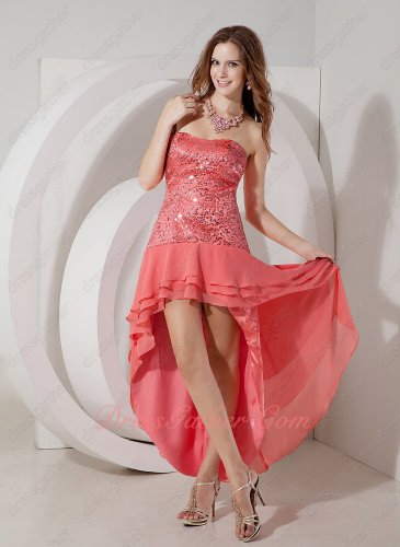 Watermelon Twinkling Sequin Bodice 3 Layers High-low Dancers Partner Dress Clearence