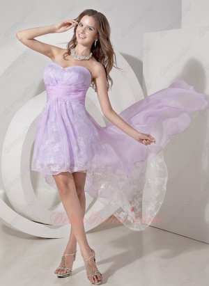 High-low Style Lilac Chiffon Cover Lace Fabric Fairy Graduation Dress Girl Prefer