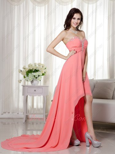 Svelte Beading High-low Watermelon Stage Show Dress Designer Prefer Color